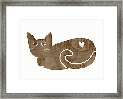 Brown Cat- Art By Linda Woods Framed Print by Linda Woods