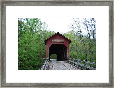 Brown County Covered Bridge Framed Print by Beverly Cazzell