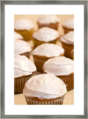 Brown Cupcakes With White Frosting Framed Print