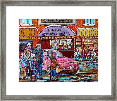 Brown Derby Van Horne Shopping Centre Canadian Hockey Art Painting Montreal 375 Carole Spandau       Framed Print