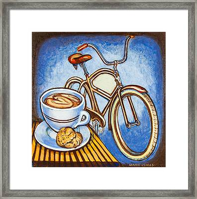 Brown Electra Delivery Bicycle Coffee And Amaretti Framed Print