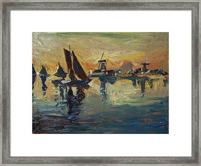Brown Fleet On The Zaan Framed Print by Nop Briex