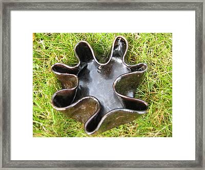 Brown Free-form With Fluted Rim Vessel Framed Print by Julia Van Dine