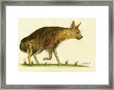 Brown Hyena Animal Art Framed Print