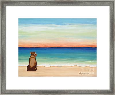 Brown Lab Dog On The Beach Framed Print