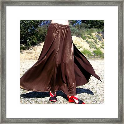 Brown Maxi Skirt With Slit. Ameynra Fashion Framed Print by Sofia Metal Queen