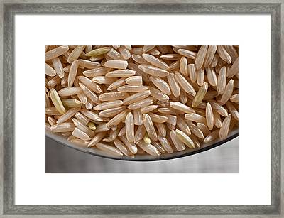 Brown Rice In Bowl Framed Print