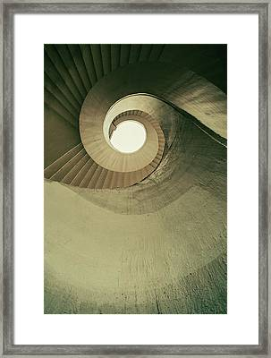 Brown Spiral Stairs Framed Print