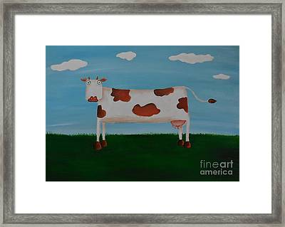 Brown Spotted Cow Framed Print