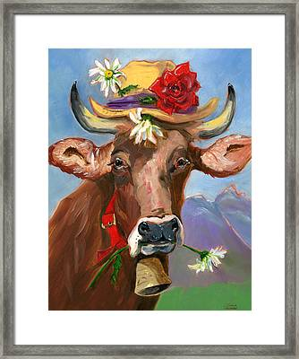 Brown Swiss In Summer Hat Framed Print by Susan Thomas