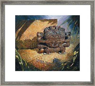 brown Wakahuia Framed Print by Peter Jean Caley
