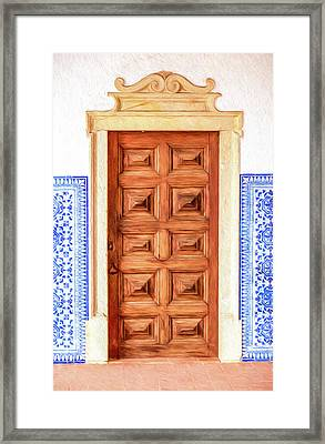 Brown Wood Door Of Old World Europe Framed Print by David Letts