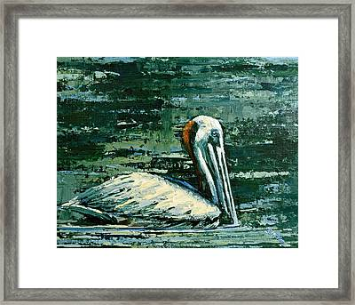 Brownie Swimming In Green Water Framed Print by Suzanne McKee