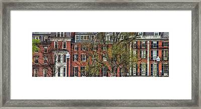 Framed Print featuring the photograph Brownstone Panoramic - Beacon Street Boston by Joann Vitali