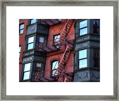 Brownstone With Iron Fire Escapes - Boston Framed Print by Joann Vitali