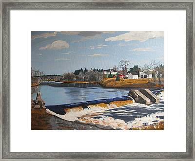 Brownville Dam With Village Framed Print
