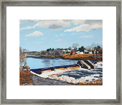 Brownville Village Dam Framed Print by Stella Sherman