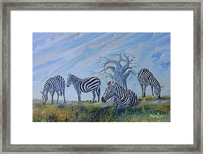 Framed Print featuring the painting Browsing Zebras by Anthony Mwangi