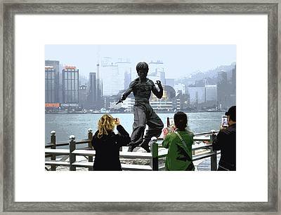 Bruce Lee And 3 Tourists Framed Print by Manson Lee