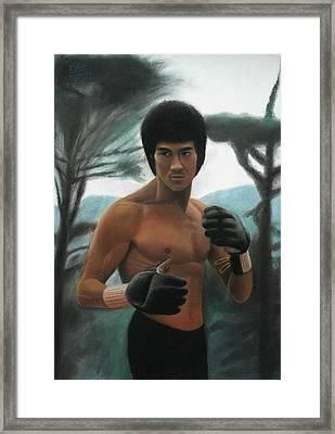 Bruce Lee - The Concentration  Framed Print by Vishvesh Tadsare