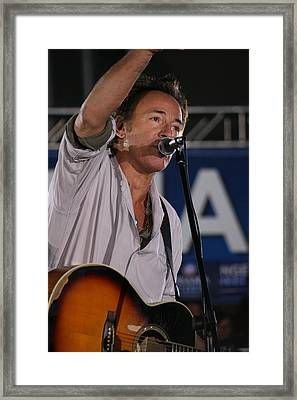 Bruce Springsteen In Cleveland Framed Print by Brian M Lumley
