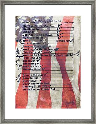 Bruce Springsteen Setlist At Rock In Rio Lisboa 2012 Framed Print by Marco Oliveira