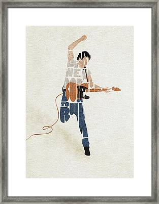Framed Print featuring the digital art Bruce Springsteen Typography Art by Inspirowl Design