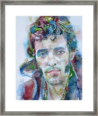 Bruce Springsteen - Watercolor Portrait.12 Framed Print
