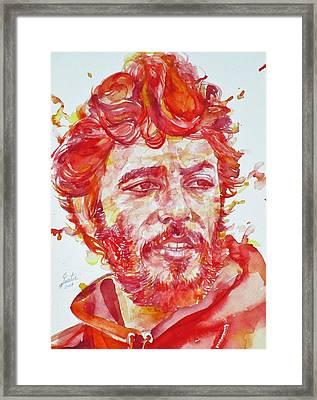 Bruce Springsteen - Watercolor Portrait.13 Framed Print