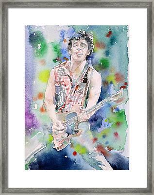 Bruce Springsteen - Watercolor Portrait.4 Framed Print