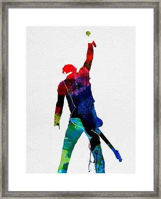 Bruce Watercolor Framed Print by Naxart Studio