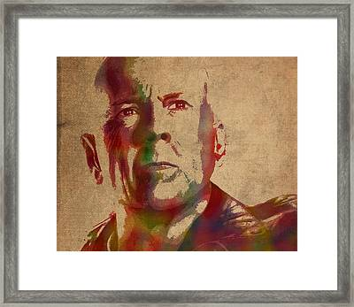 Bruce Willis Watercolor Portrait Hollywood Actor On Worn Distressed Canvas Framed Print by Design Turnpike