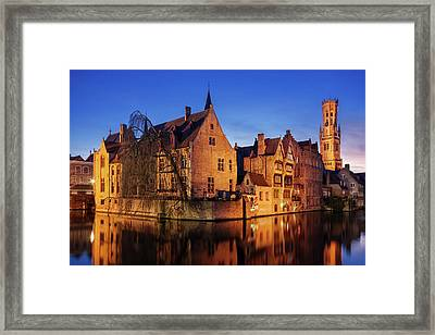 Framed Print featuring the photograph Bruges Architecture At Blue Hour by Barry O Carroll