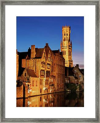 Framed Print featuring the photograph Bruges Belfry At Night by Barry O Carroll