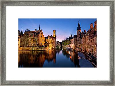 Framed Print featuring the photograph Bruges Canals At Blue Hour by Barry O Carroll