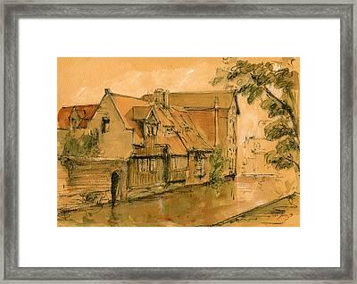 Bruges City Watercolor Framed Print by Juan  Bosco