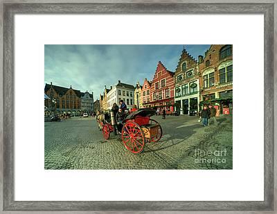 Brugge Grand Place Horse N Cart  Framed Print by Rob Hawkins