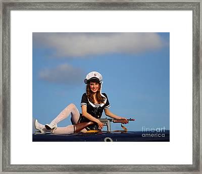 Brunette Navy Girl 2 Framed Print by Jimmy Ostgard