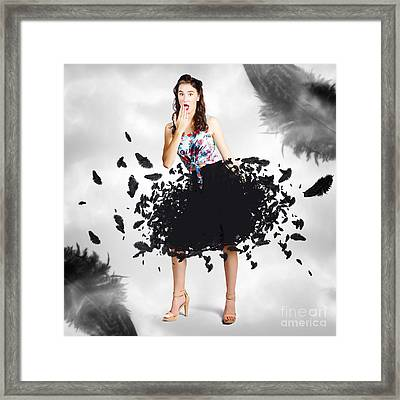 Brunette Pin-up Woman In Gorgeous Feather Skirt Framed Print by Jorgo Photography - Wall Art Gallery