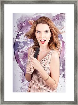Brunette Salon Girl With Smashing New Hair Style Framed Print