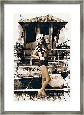 Brunette Wwii Pinup Lady Standing By Naval Boat Framed Print