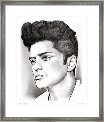 Bruno Mars Framed Print by Greg Joens