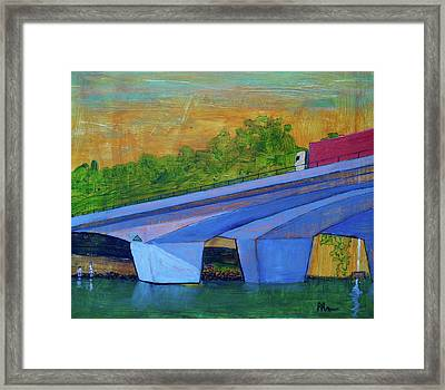 Framed Print featuring the painting Brunswick River Bridge by Paul McKey