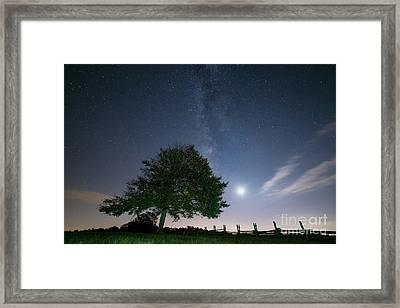 Brush Mountain Moonset Framed Print by Anthony Heflin