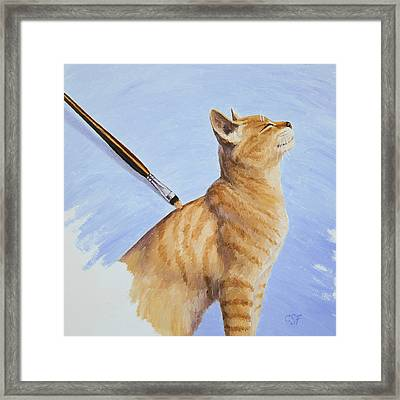 Brushing The Cat Framed Print by Crista Forest