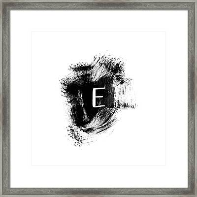 Brushstroke E -monogram Art By Linda Woods Framed Print