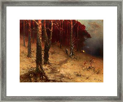 Brushwood Collector Bordering The Woods Framed Print