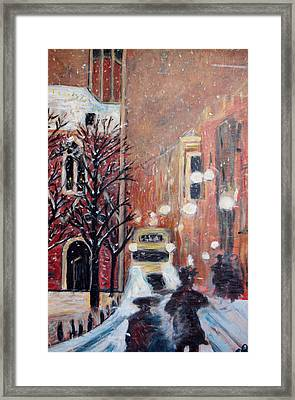 Brussels At Night Framed Print by Carolyn Donnell