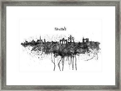 Brussels Black And White Skyline Silhouette Framed Print