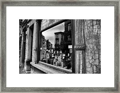 Brussels Reflections - Cameras And Books Framed Print by Georgia Fowler